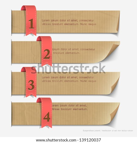 Paper numbered banners, design for infographics. Vector EPS10 - stock vector