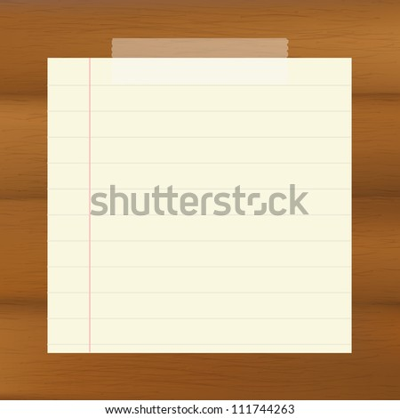 Paper On Wooden Brown Background, Vector Illustration - stock vector