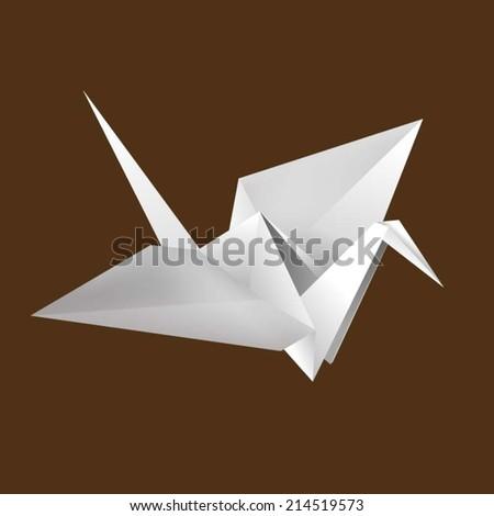 Paper origami bird - stock vector