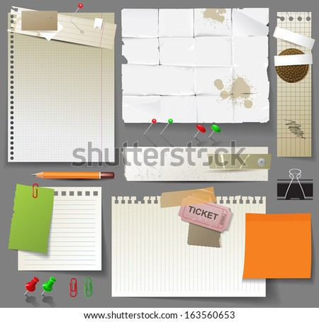 Paper pages, sheets of paper and clips over gray background - stock vector