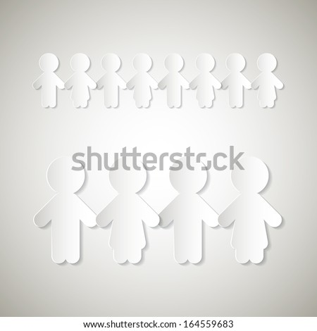Paper People Holding Hands - stock vector