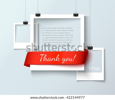 Paper photo frames composition. Vector photo frame template with red ribbon ant text Thank You for web sites and presentation. Photo frames illustration. Art gallery template with photo frame - stock vector