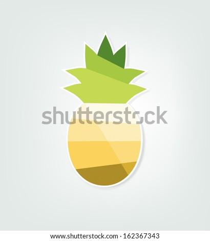 paper pineapple - stock vector