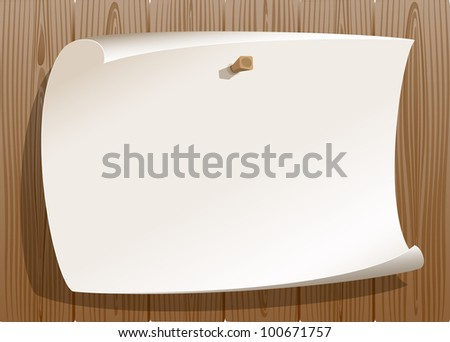 Paper pinned on wood background - stock vector