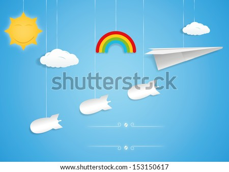 Paper plane and bombs toys. Vector illustration - stock vector