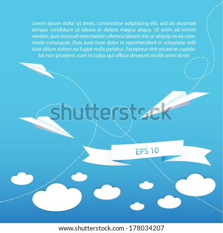Paper plane background for your business presentation - stock vector