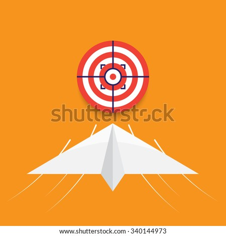 paper plane, business goal success concept, vector illustration - stock vector