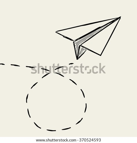 Paper plane drawing with dashed trace line. - stock vector