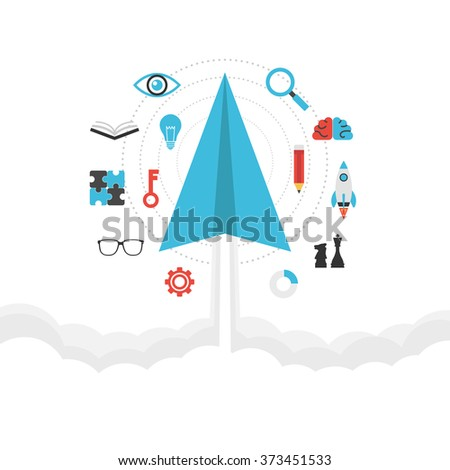 paper plane on sky, imagination concept, isolated on white background - stock vector