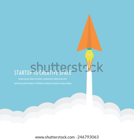 paper plane's engine is idea, can launch to creative space like a rocket, thinking concept, flatstyle - stock vector