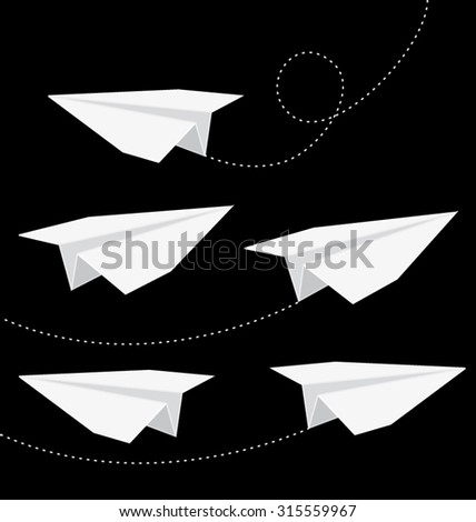 Paper planes collection. Vector set. - stock vector
