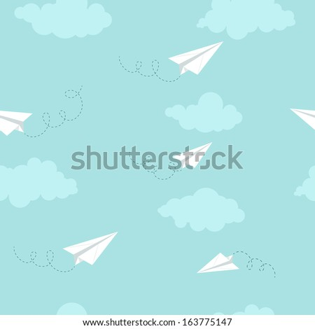 Paper planes on the sky with clouds, seamless texture, vector, EPS 10 - stock vector