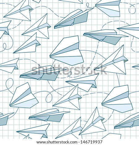 Paper planes seamless texture - stock vector