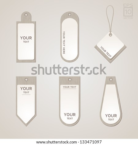 Paper price tag on wooden plate - stock vector