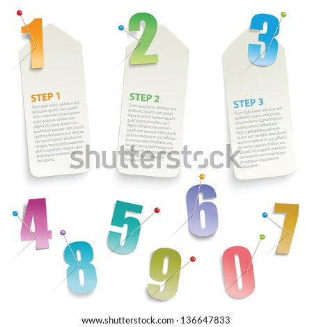 paper progress template labels, layered - stock vector