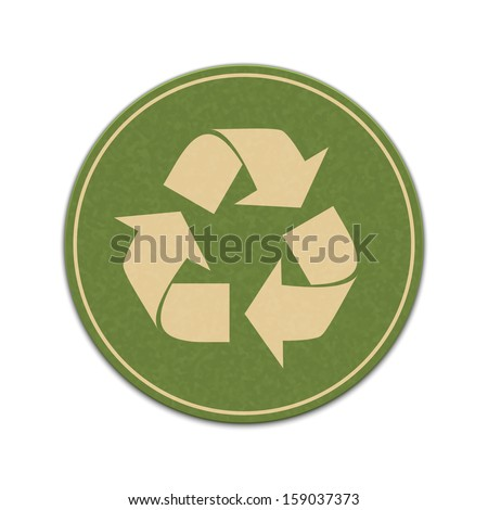 Paper recycle sticker isolated on a white background - stock vector