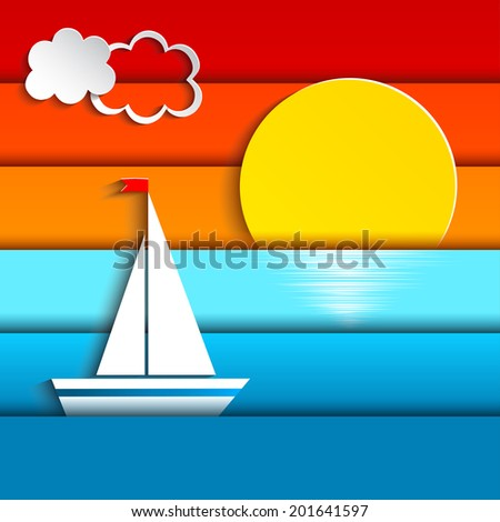 paper sail in the sea at sunset vector illustration - stock vector