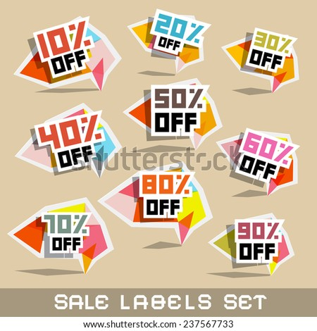 Paper Sale - Discount Labels Vector Illustration - stock vector