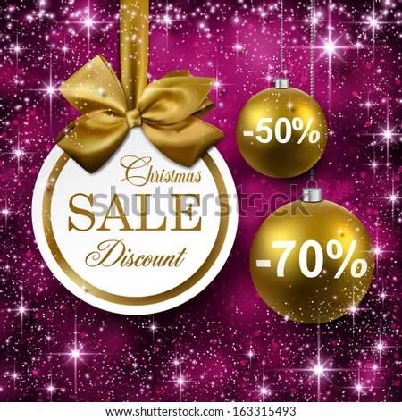 Paper sale golden christmas balls over purple winter abstract background. Vector illustration with snowflakes and sparkles.  - stock vector