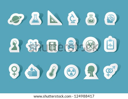 Paper Science Icons Set of 18 EPS 8 vector no open shapes or paths - stock vector