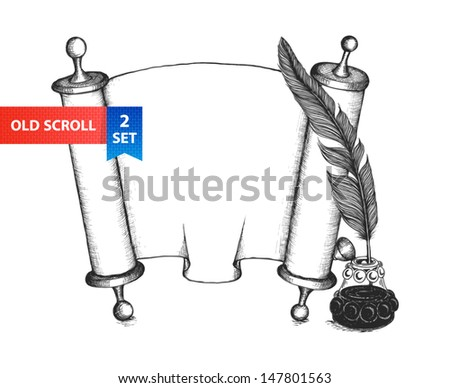 Paper scroll, feather and inkwell in a sketch style. Hand-drawn vector illustration. - stock vector