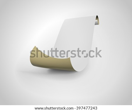 Paper scroll on white background. - stock vector