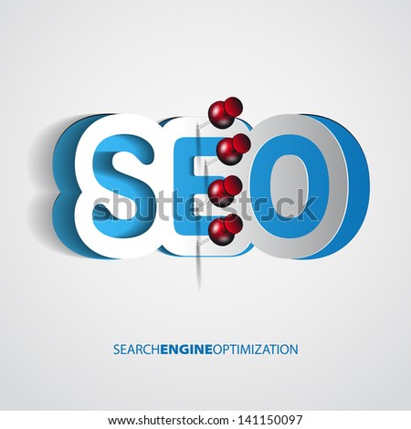 Paper Search optimization concept sign with drawing pin - vector theme - stock vector