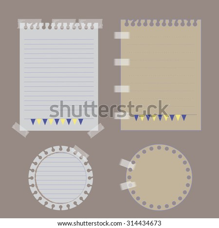 paper set :Vintage paper designs (paper sheets, lined paper and note paper) - stock vector
