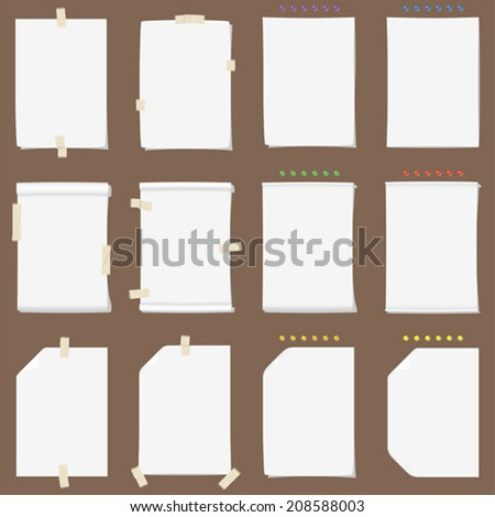 Paper sheet collection with solid shadows (change the color if you need it) - stock vector