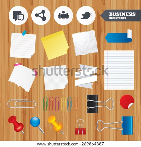 Paper sheets. Office business stickers, pin, clip. Social media icons. Chat speech bubble and Bird chick symbols. Human group sign. Squared, lined pages. Vector - stock vector
