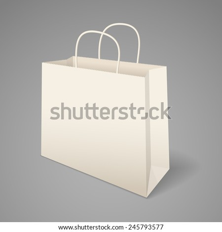 Paper shopping bag with handles. Vector illustration, easily editable - stock vector