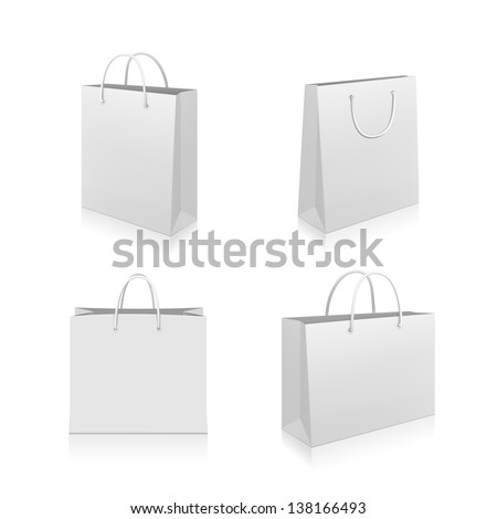 Paper Shopping Bags collection isolated on white background - stock vector