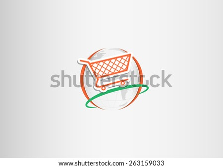 Paper shopping cart flying around the paper planet Earth - stock vector