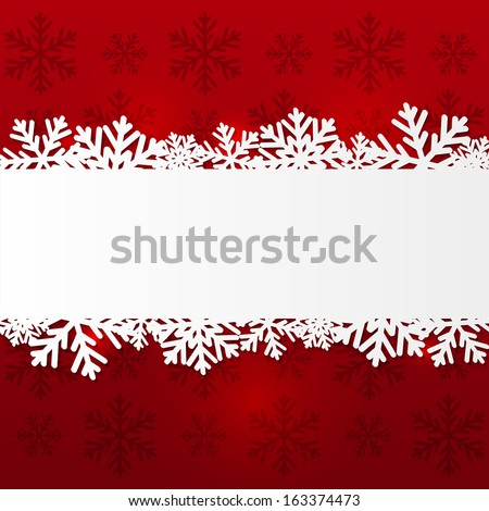 Paper snowflake border on red - stock vector