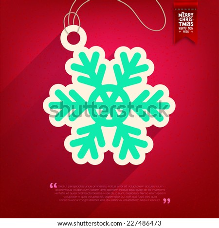 Paper Snowflake Tag for Christmas Winter Design. Xmas Label. - stock vector