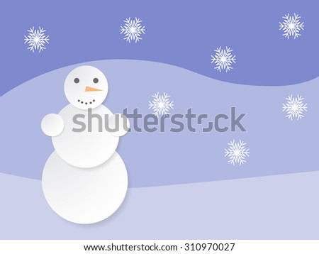 Paper snowman background with retro landscape - stock vector