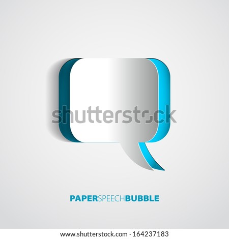 Paper Speech bubble - Abstract 3D Design - stock vector
