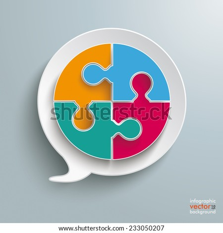 Paper speech bubble with circle puzzle on the silver background. Eps 10 vector file. - stock vector