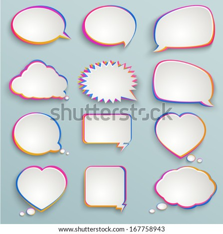 Paper speech bubbles, colorful painting, abstract elements of infographics, forms of clouds, heart - stock vector