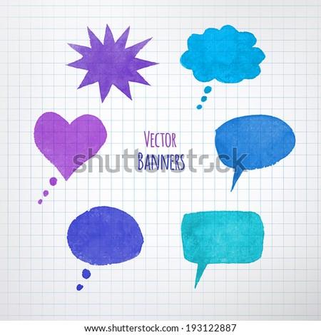 Paper speech bubbles on school board background. - stock vector