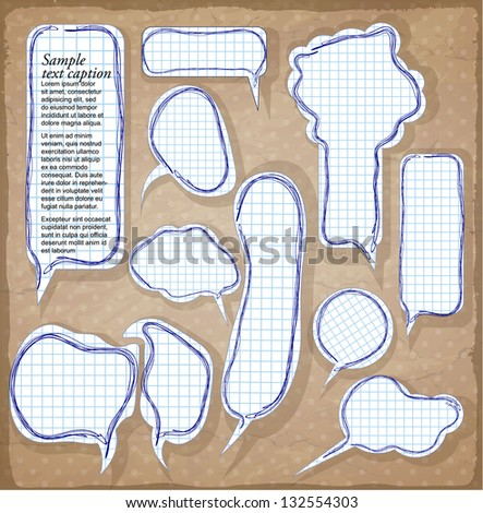 Paper speech bubbles. Vector. - stock vector