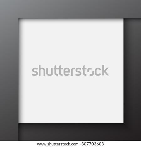 Paper square white banner on black background - stock vector