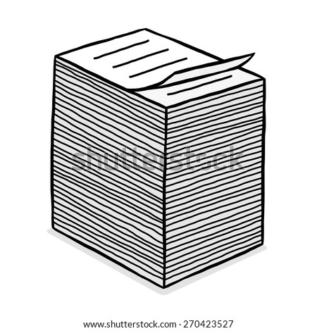 paper stack / cartoon vector and illustration, grayscale, hand drawn style, isolated on white background. - stock vector