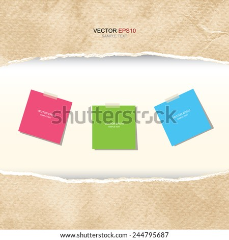 Paper stick note in frame of ripped vintage paper texture with area for copy space. Vector illustration. - stock vector