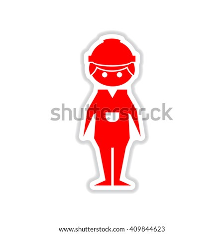 paper sticker on white background male construction worker - stock vector