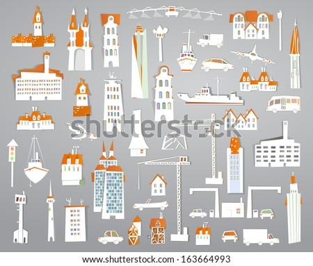 paper stickers city set - stock vector