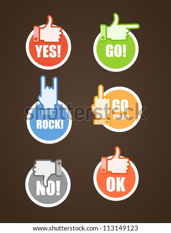 Paper stickers of different color hand gestures - stock vector