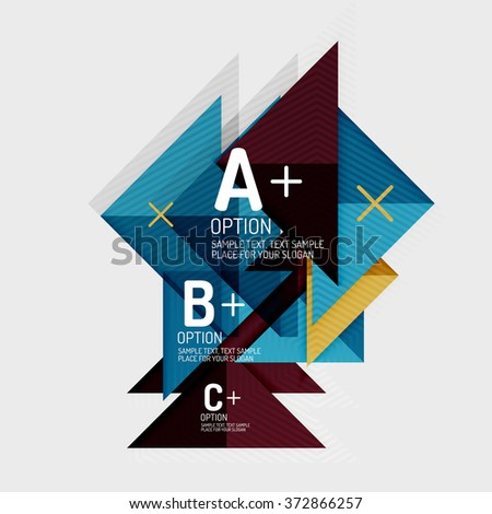 Paper style abstract geometric shapes with infographic options - stock vector