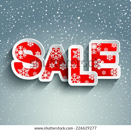 Paper stylish inscription sale with snowflakes against the falling snow, a vector. - stock vector