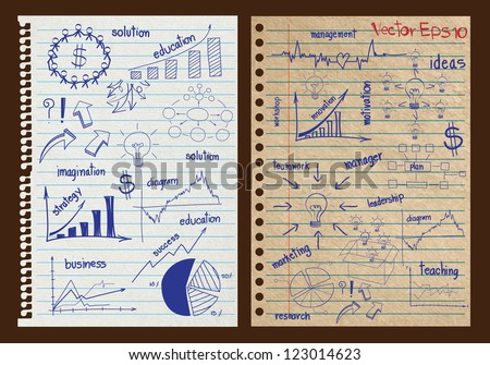 Paper textures background with drawing business strategy plan concept idea, Vector template design - stock vector